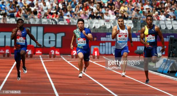Yuki Koike Adam Gemili and Julian Forte Competing in 100M Men Round 1 Heat 1 during Day One of the IAAF Diamond League Muller Anniversary Games at...