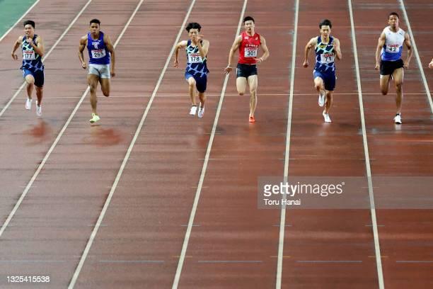 Yuki Koike, Bruno Dede, Shuhei Tada, Yoshihide Kiryu, Ryota Yamagata and Abdul Hakim Sani Brown compete in the Men's 100m final during the 105th...