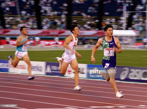 Yuki Koike competes in the Men's 200m heat on day three of the 103rd JAAF Athletics Championships at Hakata-no-Mori Athletic Stadium on June 29, 2019...