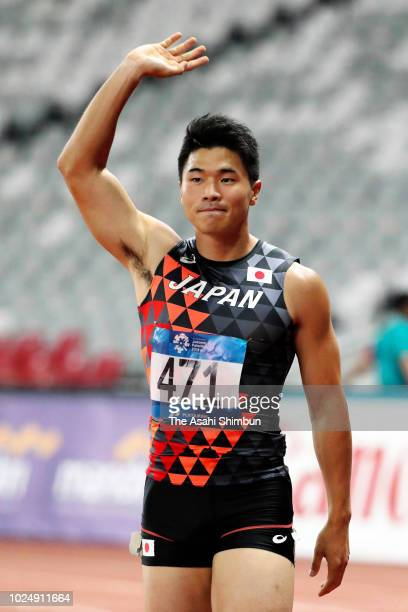 Yuki Koike of Japan applauds after competing in the Men's 200m Semi Final at the GBK Main Stadium on day ten of the Asian Games on August 28, 2018 in...