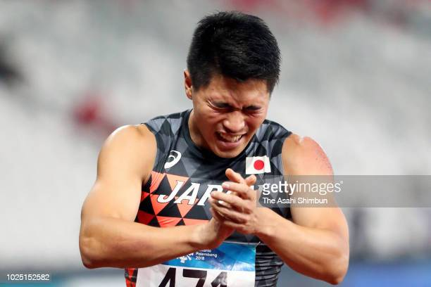 Yuki Koike of Japan celebrates winning the gold medal in the Men's 200m at the GBK Main Stadium on day eleven of the Asian Games on August 29, 2018...