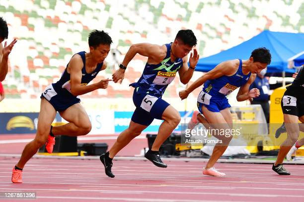 Yuki Koike of Japan competes in the men's 100m heat 2 during the Seiko Golden Grand Prix at the National Stadium on August 23, 2020 in Tokyo, Japan.