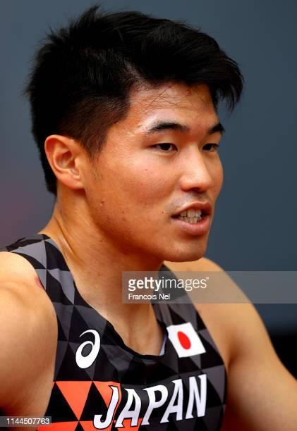 Yuki Koike of Japan looks on during day three of the 23rd Asian Athletics Championships at Khalifa International Stadium on April 23, 2019 in Doha,...