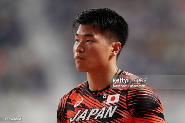 Yuki Koike of Japan reacts prior to competing in the Men's 100 metres heats during day one of 17th IAAF World Athletics Championships Doha 2019 at...