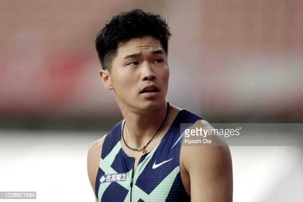 Yuki Koike reacts after competing in the Men's 100m semifinal on day one of the 104th JAAF Athletics Championships at Denka Big Swan on October 1,...