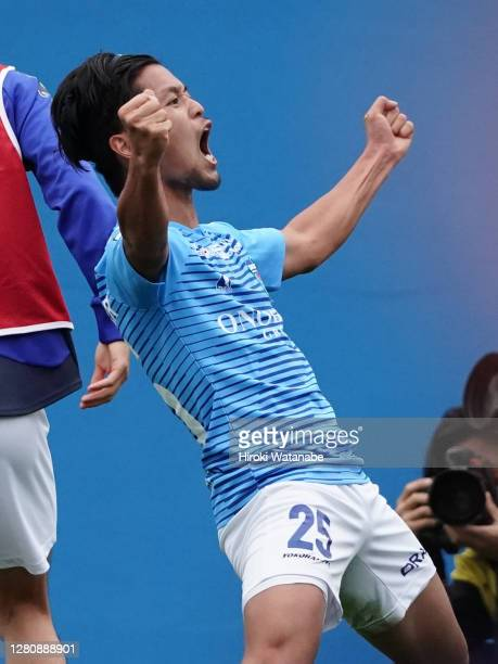 Yuki Kusano of Yokohama FC celebrates scoring his team's first goal during the J.League Meiji Yasuda J1 match between Yokohama FC and FC Tokyo at NHK...
