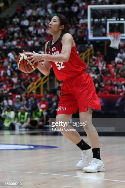 Yuki Miyazawa of Japan in action during the Game One of the women's basketball international game between Japan and Chinese Taipei at Saitama Super...