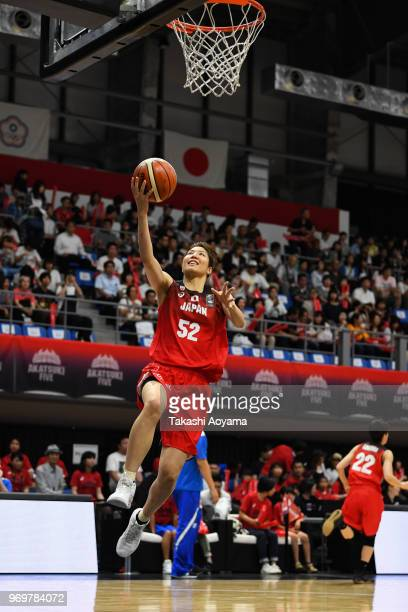 Yuki Miyazawa of Japan warms up prior to the Women's Basketball international between Japan and Chinese Taipei at Tachikawa Tachihi Arena on June 8,...