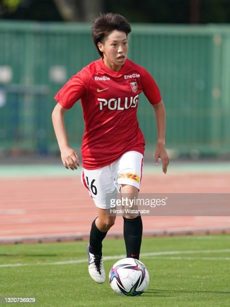 Yuki Mizutani of MHI Urawa Reds Ladies in action during the WE League preseason match between MHI Urawa Reds Ladies and Sanfrecce Hiroshima Regina at...