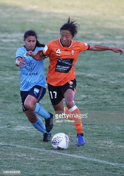 Yuki Nagasato in action during the round 12 WLeague match between the Brisbane Roar and Sydney FC at Lions Stadium on January 19 2019 in Brisbane...
