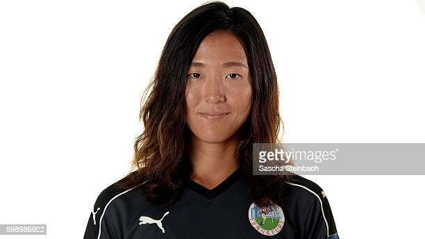 Yuki Nagasato of 1 FFC Frankfurt poses during the Allianz Women's Bundesliga Club Tour on September 2 2016 in Frankfurt Germany