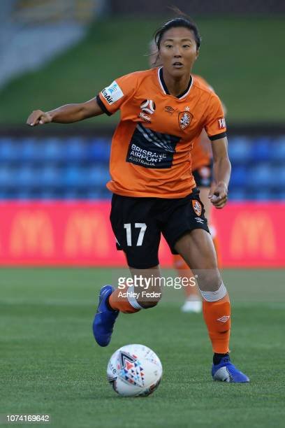Yuki Nagasato of Brisbane Roar in action during the round five WLeague match between the Newcastle Jets and the Brisbane Roar at McDonald Jones...