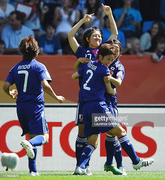 Yuki Nagasato of Japan celebrates the first goal with Yukari Kinga during the FIFA Women's World Cup 2011 match between Japan and New Zealand at the...