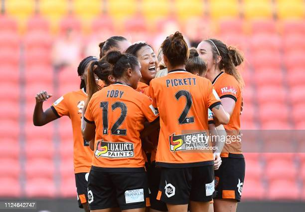 Yuki Nagasato of the Roar celebrates after scoring a goal during the round 13 WLeague match between the Brisbane Roar and Canberra United at Suncorp...