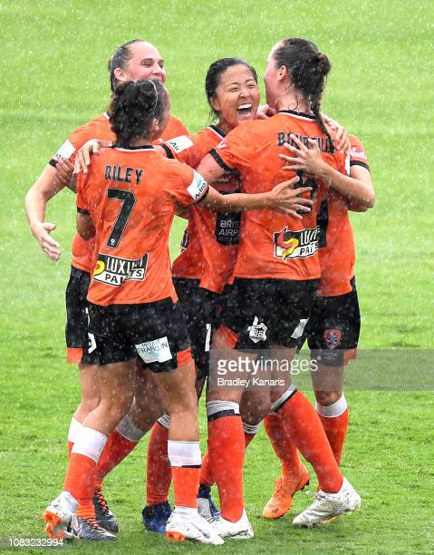 Yuki Nagasato of the Roar celebrates scoring a goal during the round seven WLeague match between the Brisbane Roar and the Melbourne Victory at Lions...