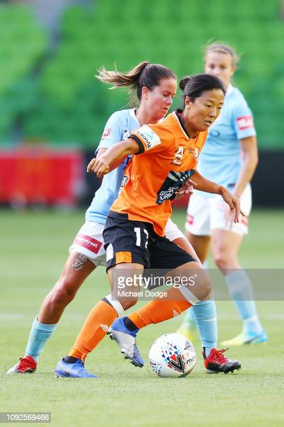Yuki NAGASATO of the Roar competes for the ball during the round 11 WLeague match between Melbourne City and the Brisbane Roar at AAMI Park on...