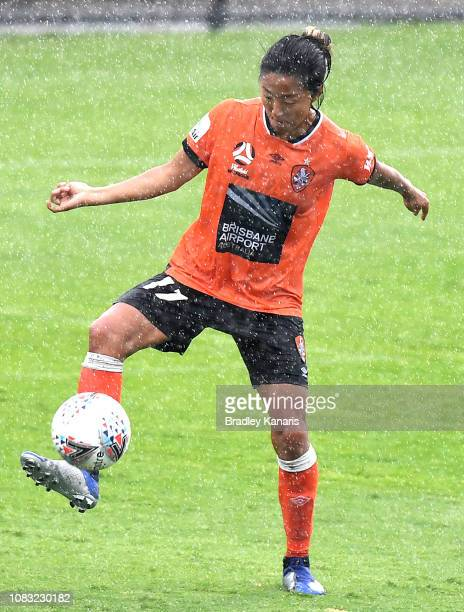 Yuki Nagasato of the Roar in action during the round seven WLeague match between the Brisbane Roar and the Melbourne Victory at Lions Stadium on...