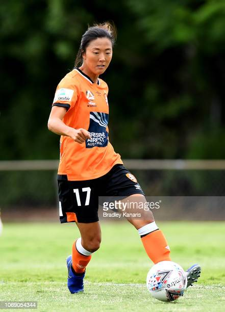 Yuki Nagasato of the Roar in action during the WLeague match between the Brisbane Roar and Adelaide United at the Lions Club on November 18 2018 in...