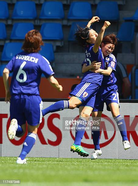 Yuki Nagasto of Japan celebrates her goal with teammate Yukari Kinga during the FIFA Women's World Cup 2011 Group B match between Japan and New...