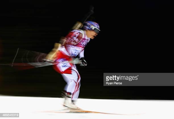 Yuki Nakajima of Japan competes during the Biathlon Women's 15km Individual on day seven of the Sochi 2014 Winter Olympics at Laura Crosscountry Ski...