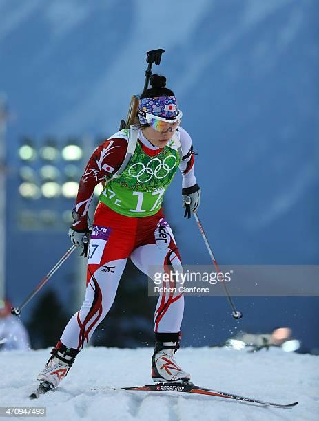 Yuki Nakajima of Japan competes during the Biathlon Women's 4 x 6 km Relay on day 14 of the Sochi 2014 Winter Olympics at Laura Crosscountry Ski...