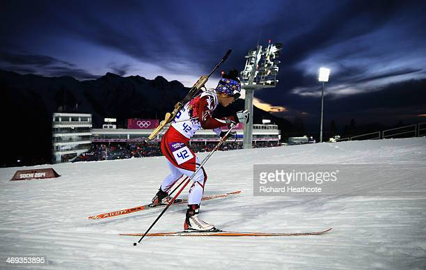 Yuki Nakajima of Japan competes in the Women's 15 km Individual during day seven of the Sochi 2014 Winter Olympics at Laura Crosscountry Ski Biathlon...