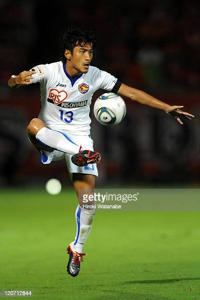 Yuki Nakajima of Vegalta Sendai in action during the JLeague match between Omiya Ardija and Vegalta Sendai at Nack 5 Stadium on August 7 2011 in...