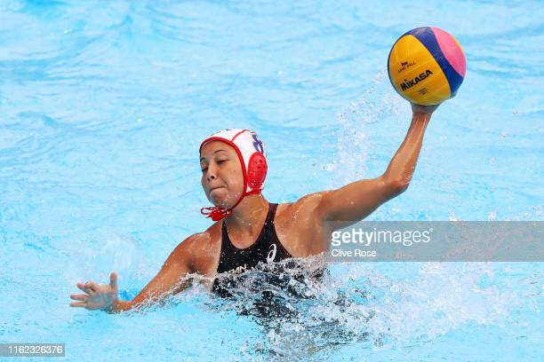 Yuki Niizawa of Japan in action against Italy their Women's Water Polo Preliminary match on day four of the Gwangju 2019 FINA World Championships at...