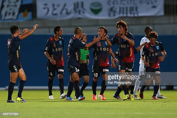 Yuki Nogami of Yokohama FC celebrates scoring his team's second goal with his teammates during the J League 2 match between Yokohama FC and...