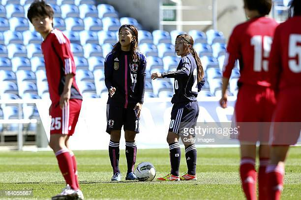Yuki Ogimi and Emi Nakajima of Japan preparing to kick of from fault during the Algarve Cup 2013 fifth place match at the Estadio Algarve on March 13...