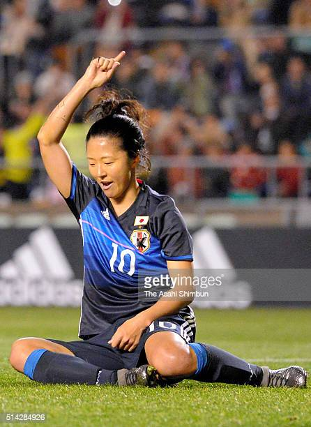 Yuki Ogimi of Japan celebrates scoring her team's sixth goal during the AFC Women's Olympic Final Qualification Round match between Vietnam and Japan...