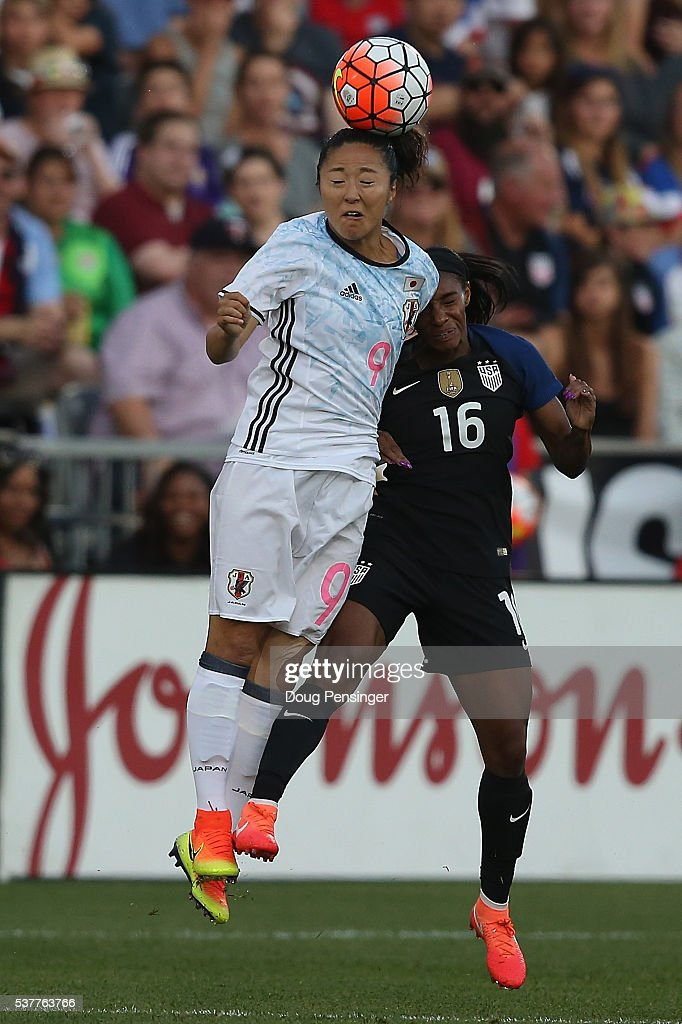 Yuki Ogimi #9 of Japan heads the ball away from Crystal Dunn #16 of United States of America during an international friendly match at Dick's Sporting Goods Park on June 2, 2016 in Commerce City, Colorado. Japan and the United States played to a 3-3 draw.