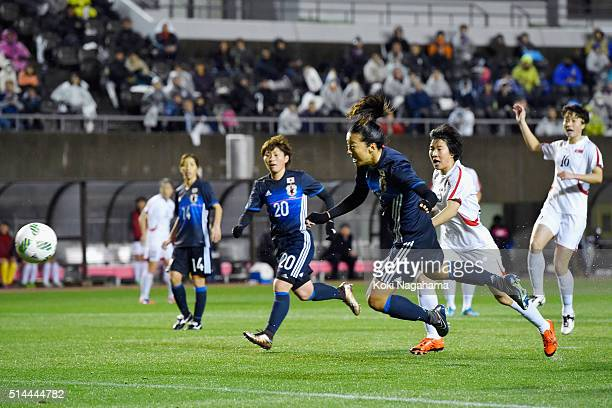 Yuki Ogimi of Japan heads the ball during the AFC Women's Olympic Final Qualification Round match between Japan and North Korea at Kincho Stadium on...