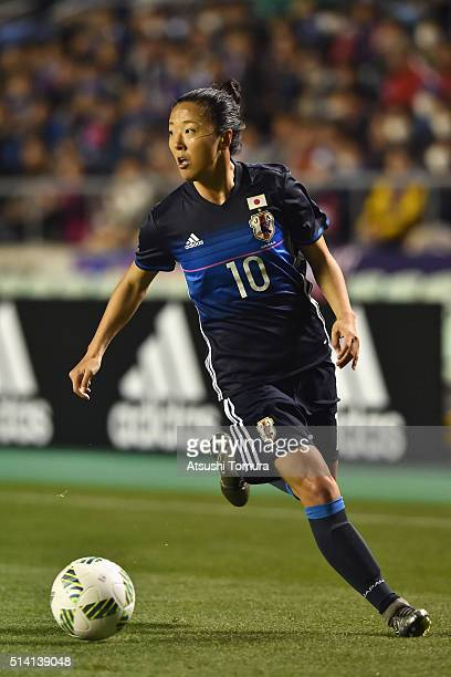 Yuki Ogimi of Japan in action during the AFC Women's Olympic Final Qualification Round match between Vietnam and Japan at Kincho Stadium on March 7...