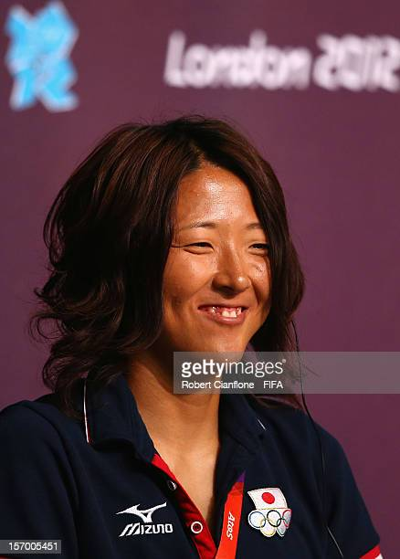 Yuki Ogimi of Japan is seen during the Women's Football Final press conference at the Main Press Centre as part of the London 2012 Olympic Games on...