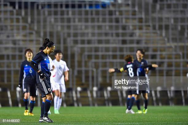 Yuki Ogimi of Japan reacts after the AFC Women's Olympic Final Qualification Round match between Japan and North Korea at Kincho Stadium on March 9...