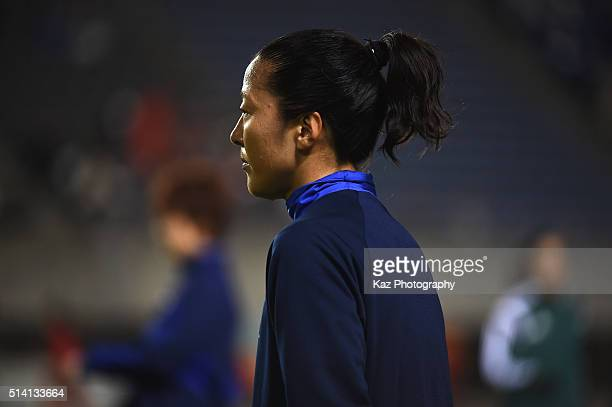 Yuki Ogimi of Japan warms up prior to the AFC Women's Olympic Final Qualification Round match between Vietnam and Japan at Kincho Stadium on March 7...