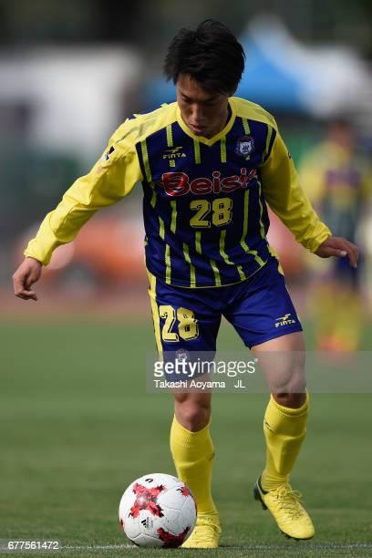 Yuki Okaniwa of Thespa Kusatsu Gunma in action during the JLeague J2 match between Thespa Kusatsu Gunma and FC Gifu at Shoda Shoyu Stadium on May 3...