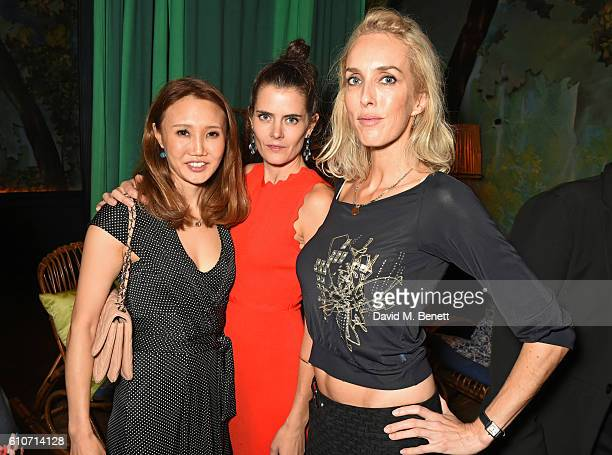 Yuki Oshima Ming Lampson and Sarah Woodhead attend the launch of Ming Jewellery's debut collection 'Oriental Garden' at Sketch on September 27 2016...