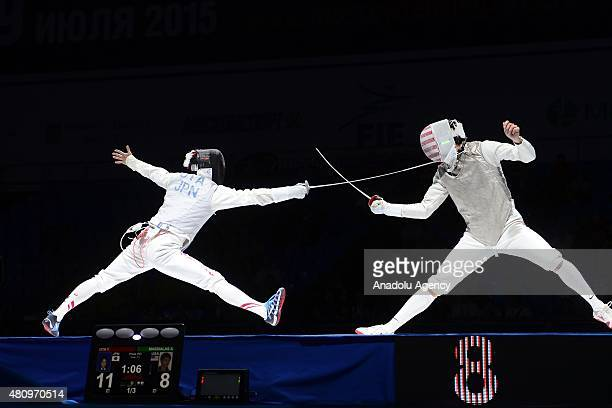 Yuki Ota of Japan competes with Alexander Massialas of United States during the Man's Senior Fleuret final match within the 2015 World Fencing...