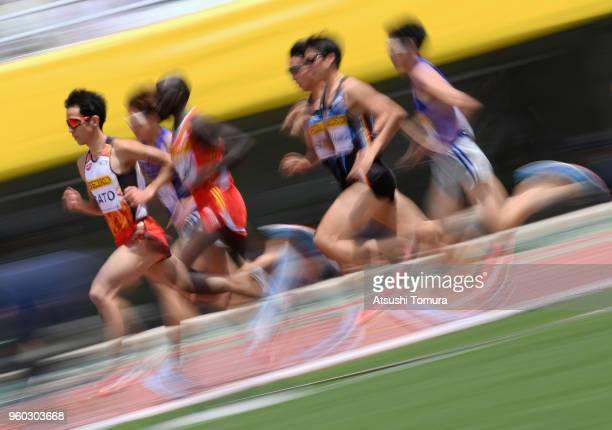 Yuki Sato of Japan leads the pack in the Men's 3000m during the IAAF Golden Grand Prix at Yanmar Stadium Nagai on May 20 2018 in Osaka Japan