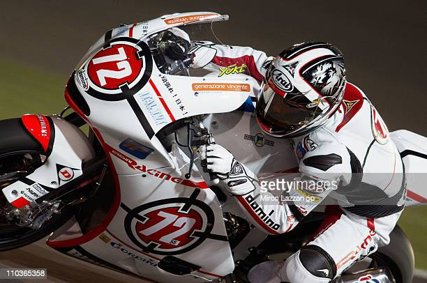 Yuki Takahashi of Japan and Gresini Racing Moto2 rounds the bend during the free practice of Doha GP at Losail Circuit on March 17, 2011 in Doha,...