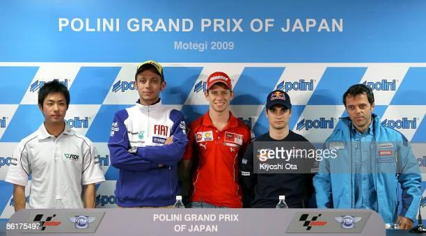 Yuki Takahashi of Japan and Scot Racing Team MotoGP, Valentino Rossi of Italy and Fiat Yamaha Team, Casey Stoner of Australia and Ducati Marlboro...