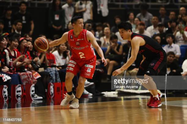 Yuki Togashi of Chiba Jets handles the ball during the B.League final between Chiba Jets and Alvark Tokyo at Yokohama Arena on May 11, 2019 in...