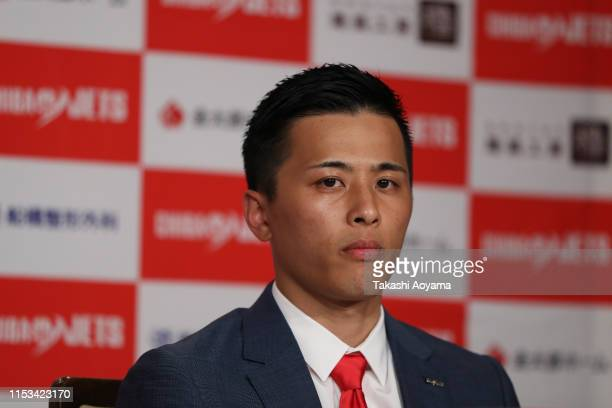Yuki Togashi of the Chiba Jets looks on during a press conference at Imperial Hotel on June 03, 2019 in Tokyo, Japan.