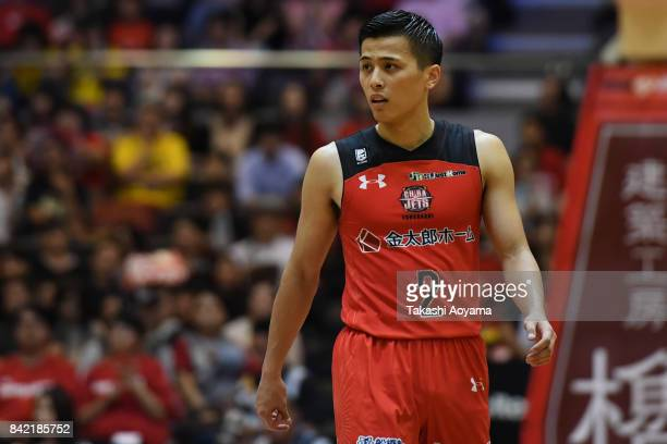 Yuki Togashi of the Chiba Jets reacts during the B.League Kanto Early Cup final between Alvark Tokyo and Chiba Jets at Funabashi Arena on September...