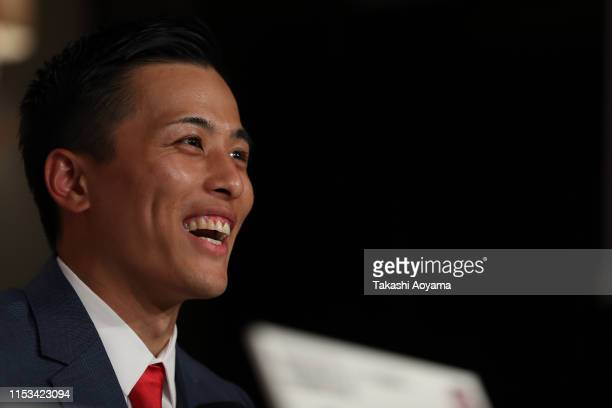 Yuki Togashi of the Chiba Jets smiles during a press conference at Imperial Hotel on June 03, 2019 in Tokyo, Japan.