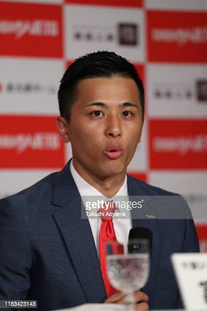 Yuki Togashi of the Chiba Jets speaks during a press conference at Imperial Hotel on June 03, 2019 in Tokyo, Japan.