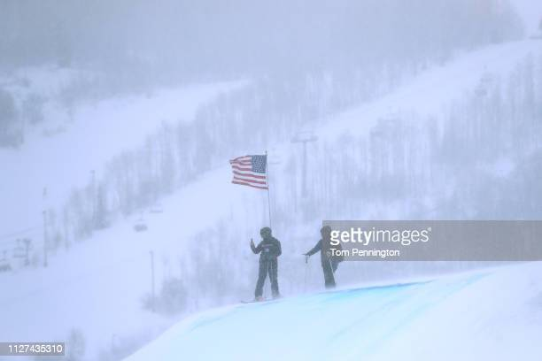 Yuki Tsubota of Canada inspects the Ski Slopestyle course at the FIS Freestyle Ski World Championships on February 04 2019 at Park City Mountain...
