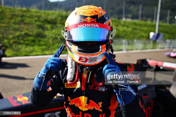Yuki Tsunoda of Japan and Carlin celebrates qualifying in pole position during qualifying for the Formula 2 Championship at Red Bull Ring on July 10,...